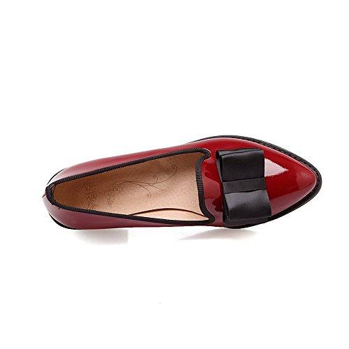 Amoonyfashion Mujer-pull-on Low-heels Pu Bombas De Punta Estrecha Con Punta Cerrada-zapatos Claret