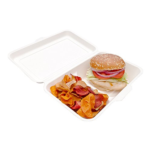 - Bagasse Take Out Container, Bagasse To Go Box, Clamshell - Durable All Natural, Biodegradable, Disposable Material - 2 Compartments - 13