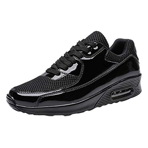 Men's Sport Shoes Lightweight Athletic Running Breathable Air Fitness Gym Walking Casual Sneakers (Black, US:8) -