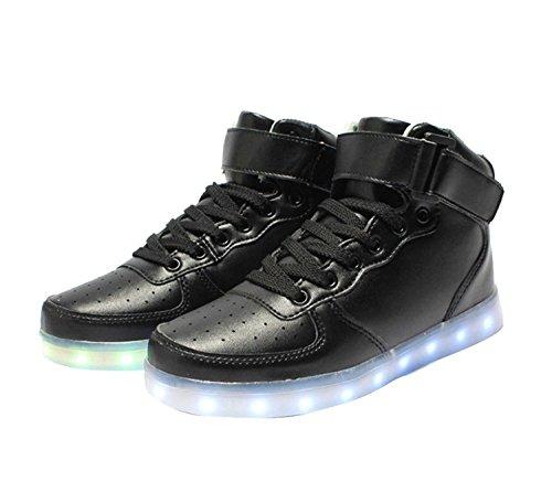 Nero 7 USB Top Carica Lampeggiante Luminosi Unisex Adulto Sportive LED Colore Myroads Scarpe Alto Sneaker tw6TpxqA
