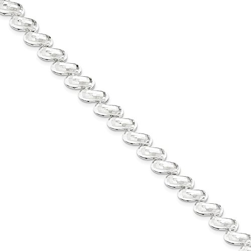 Sterling Silver Polished 10mm San Marco Link Bold Look Bracelet With Lobster Clasp Length 7.5 Inch - Marco Modern Pendant