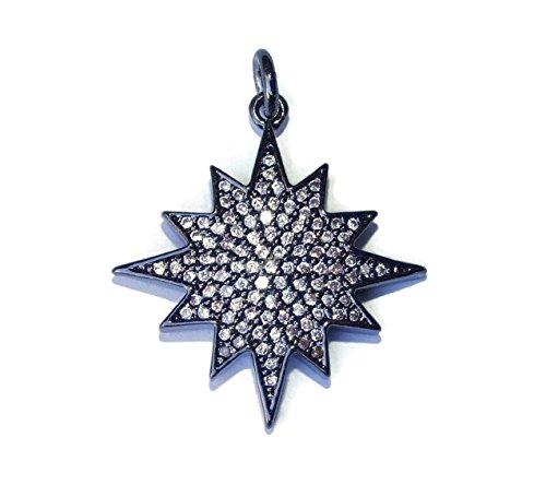 Pave Charm Pendant, Pave Cubic Zirconium Crystals, CZ - Rhinestone - Star - Black (gunmetal) - 22mm x 24mm ()