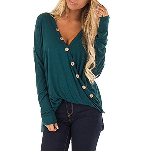 Top Women,Kulywon Fashion Women V-Neck Botton Solid Casual