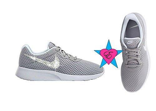 b29ba002a4e Amazon.com  Rhinestone Crystal Little Kid Gray Nike Tanjun Sneakers   Handmade
