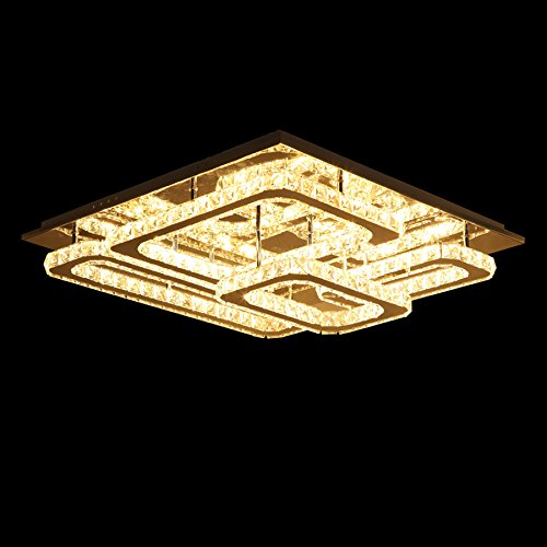 LightInTheBox Modern Led Ceiling Light Flush Mount Transparent Crystal Square Stainless Steel Lamp for Living Room Bed Room Hallway Dinning Room (Warm White) (Outdoor Mini Mount Flush Led)