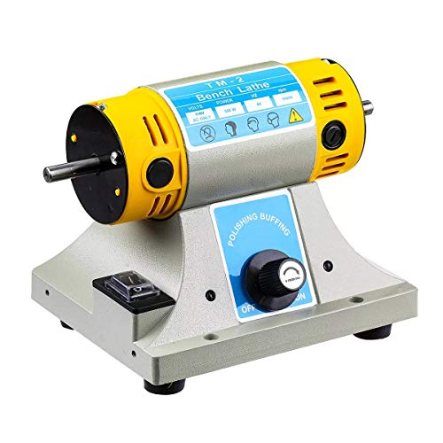 110V Jewelry Polisher, 350W 10000r/min Mini Multi-Function Polishing Machine, Super Practical Jewelry Buffer and Carving Kit with 0.6-6.5mm Large Range Chuck for Jewelry Jade Rock - US Plug ()