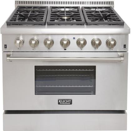 Kucht KRD366F-S Professional 36″ 5.2 cu. ft. Dual Fuel Range for Natural Gas, Stainless-Steel, Classic Silver