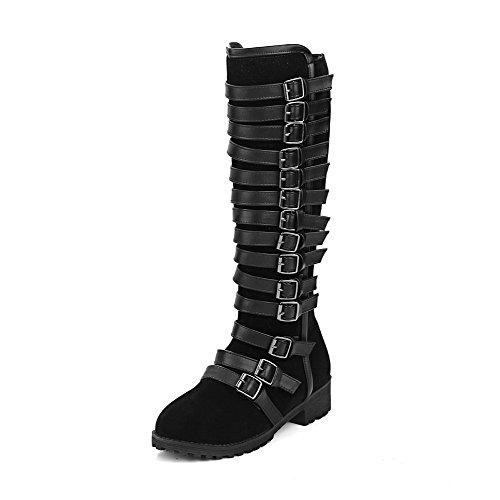 AllhqFashion Mujeres Puntera Redonda Sólido Caña Alta Mini Tacón Botas Negro