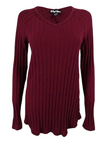 Planet Gold Womens Juniors Ribbed Knit V-Neck Tunic Sweater Red M