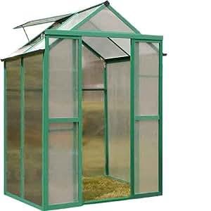 Speedwellstar GHPC44G - Invernadero (4 x 4 aluminio y policarbonato), marco verde