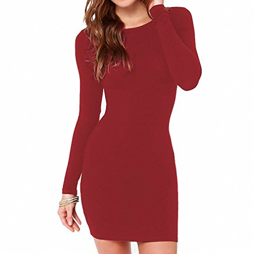 [Women Summer Autumn Sexy Casual dress Fashion elegent Black Dress Vestidos Long Sleeve Dress Brown M] (Olaf Costumes 2017)