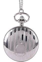 WZC Silver Quartz Mirror Pocket Watch Necklace with Chain
