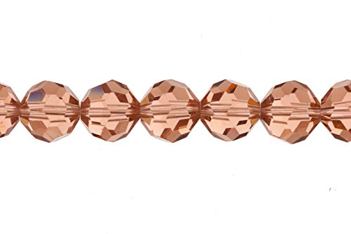 Crystal bead, 38-facet round cut, peach, 10mm