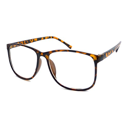 RETRO Oversized Nerd Thin Trendy Frame Clear Lens Eye Glasses TORTOISE