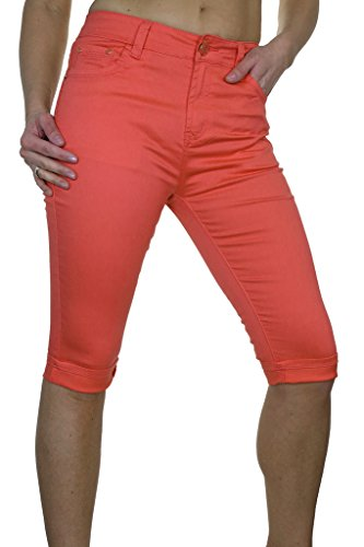 ICE (1479-5) Tipo recortada Stretch Corail Chinos con Revers