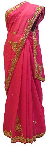 SMSAREE Pink Designer Bridal PartyWear Georgette (Viscos) Bullion Stone Work Wedding Saree Sari E034 by SMSAREE