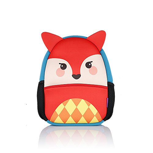 Castle Story Toddler Backpack Neoprene Lunch Bag kids,Super Light Waterproof Children's Backpack Schoolbag for Camp hiking,Kids Insulated Lunch Box with Adjustable Strap and Mesh Pocket for Bottle,Fox