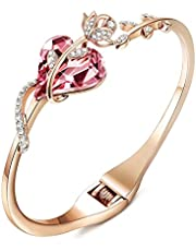 Sllaiss Rose Gold Plated Pink Crystal Cuff Bangle Bracelets for Women Birthday Jewelry Gift for Her Made with Austria Crystals