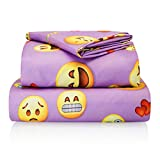 Twin Size Emoji Bed Set Chital Twin Bed Sheets for Girls | 3 Pc Colorful Kids Bedding Set | Purple Emoji Print | Durable Super-Soft, Double-Brushed Microfiber | 1 Flat & 1 Fitted Sheet, 1 Pillow Case | 15