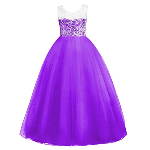 Flower Girls Dress Floor Length Rose Lace Tulle Long Bridesmaid Pageant Fancy Party Wedding Maxi Evening Dance Ball Gown Purple 9-10 Years