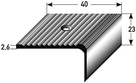 50 metros - Perfil de escalera (23 mm x 40 mm) aluminio anodizado, perforado - color: plateado: Amazon.es: Hogar