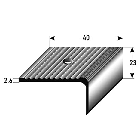 23 mm x 40 mm silberfarbend gebohrt Aluminium eloxiert 5 Meter Treppenkantenprofil