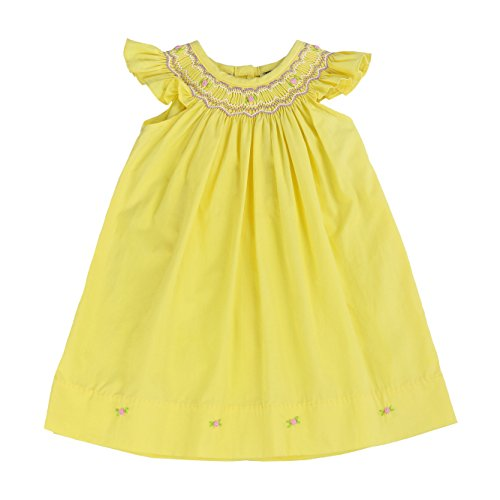 sissymini - Infant and Toddlers Soft Hand Smocked Angel Sleeve Dress | Yvonne Alder's Yellow 4T