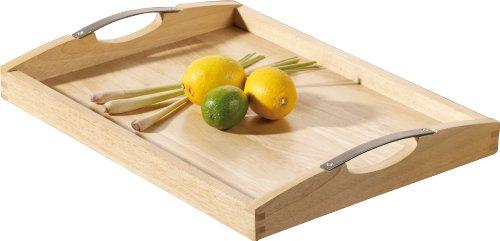 Esmeyer 304-007 Tablett NEWCASTLE aus Bambusholz  mit Edelstahl-Griffen, Boden aus Schichtholz.  Maße: ca. 48 x 37 cm