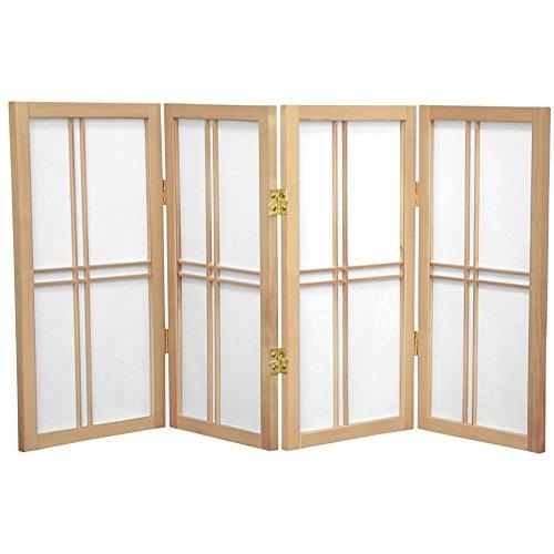 Oriental Furniture 2 ft. Tall Desktop Double Cross Shoji Screen - Natural - 4 Panels by ORIENTAL Furniture