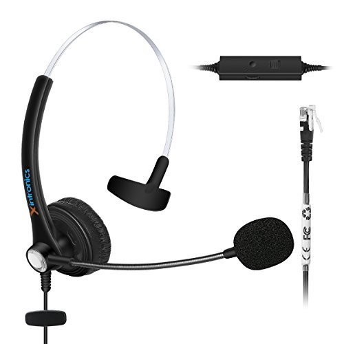 Xintronics Monaural Over-The-Head Headset Headphone with Mic for Cisco IP Phone 7931 7940 7941 7942 7945 7960 7961; Plantronics Vista Modular Adapter M10 M12 M22 MX10; Coiled Cord with RJ9 ()