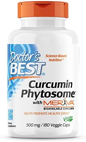 Doctor's Best Curcumin Phytosome with Meriva, Non-GMO, Vegan, Gluten Free, Soy Free, Joint Support, 500 mg 180 Veggie Caps (DRB-00230)