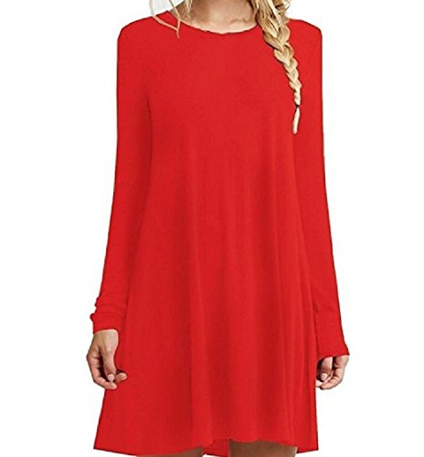 Maxi Crew Solid Splice Mid and Dress Red Women Coolred Colored Sleeve Long Neck Simple XgPBwq