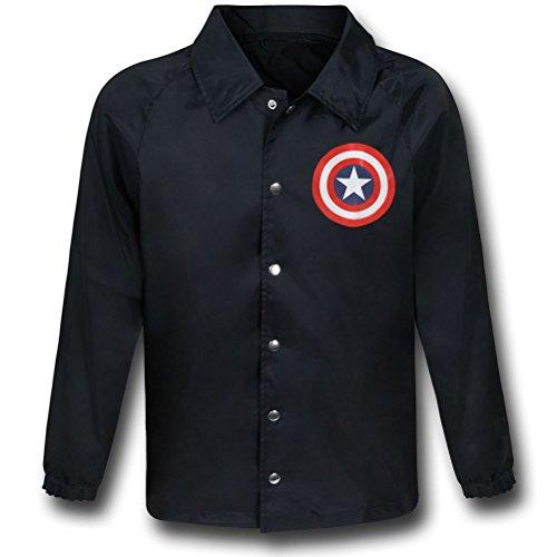 Marvel Captain America Shield Black Windbreaker- XLarge