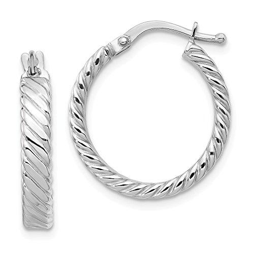14k Patterned Hoop Earrings - 14K White Gold Patterned Hoop Earrings - (0.75 in x 0.75 in)