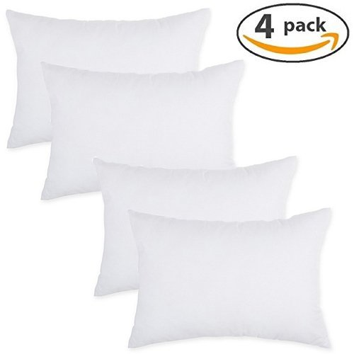 "IZO All Supply Lumbar Sham Stuffer Hypo-Allergenic Poly Pillow Form Insert, 12"" L x 20"" W (4 Pack)"
