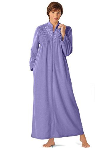 AmeriMark Women's Fleece Smocked Robe 3X (24W-26W) / (Embroidered Fleece Robe)