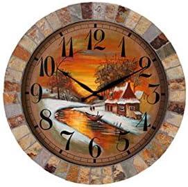 Amazon Com Xie Living Room Ideas Wall Clock Art Oil Painting Chinese Silent Quartz Clock Home Kitchen