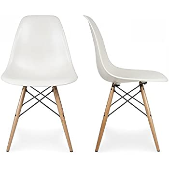 Belleze 2 PC DSW Style Plastic Molded Side Dining Chairs Modern W/ Natural  Wood Legs