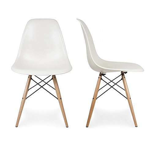 Belleze Set of (2) Classic DSW Molded Plastic Side Chair Dining Chairs Seat Backrest w/Natural Wooden Legs, White For Sale