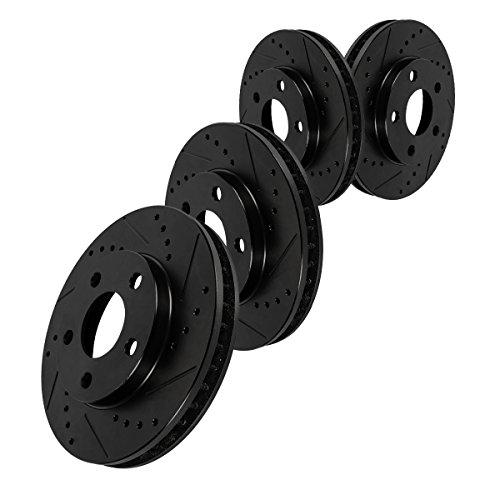 FRONT 275 mm + REAR 268 mm Black Drilled/Slotted 5 Lug [4] Brake Disc Rotors