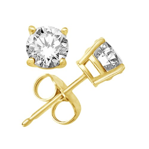 Kezef Creations 14K Gold Plated Sterling Silver CZ Stud Earrings with 12mm Round White Cubic Zirconia Gems