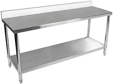 Royal Catering RCAT-180/60-S Mesa de Trabajo Acero Inoxidable (180 x 60 x 96 cm, Dos Superficies, Pies Regulables, Anti salpique, Capacidad de Carga: ...