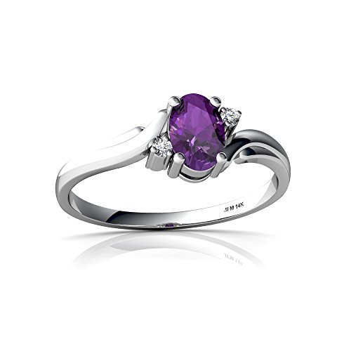 14kt White Gold Amethyst and Diamond 6x4mm Oval Swirls Ring - Size 6 ()