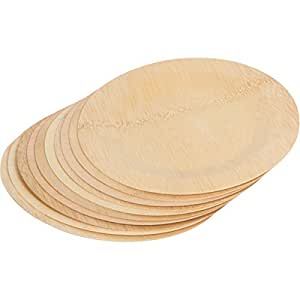 Lovely Bamboo 9-inch disposable plates, pack of 10 fancy party plates, strong and eco-friendly, wedding and barbecue without washing up, disposable bamboo dinner plates