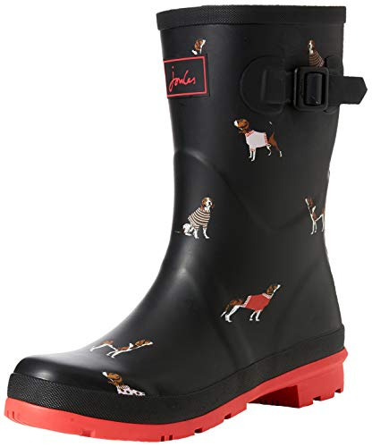 6ae06e0782 Joules Women's Molly Welly Rain Boot, Black Jumper Dog, 7 Medium US