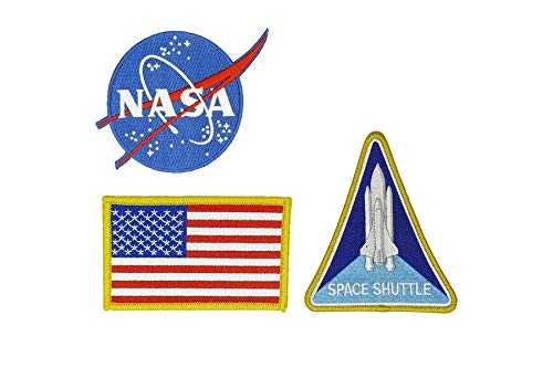 Nasa Blue Logo USA Flag Space Shuttle Jacket DIY Embroidered Halloween Costume Badge Set of 3 Easy Iron/Sew On Patch -
