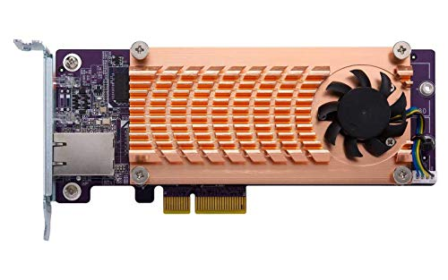 Card Expansion 2x4 - QNAP QM2-2P10G1T Dual NVMe M.2 22110/2280 PCIe SSD and Single 10GBASE-T 10GbE Network Expansion Card (PCIe Gen2 x 4), Low-Profile Bracket pre-Loaded, Flat & Full-Height are Bundled, SSD not Included