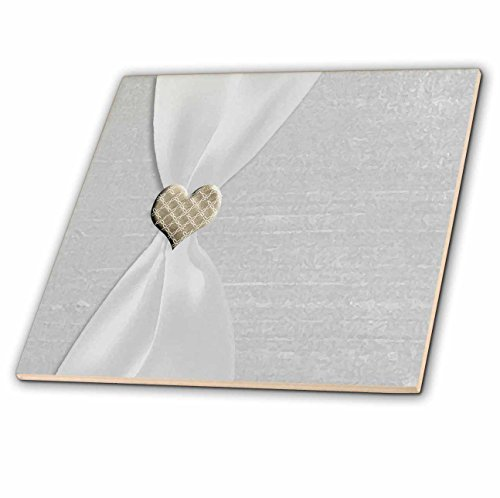 3dRose Beverly Turner Photography White Satin Ribbon with Gold Heart Glass Tile, 12-Inch