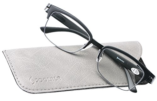 SOOLALA Brand New Mens Vintage Half Framed Clubmaster Reading Glass with Pouch, Black, +1.0