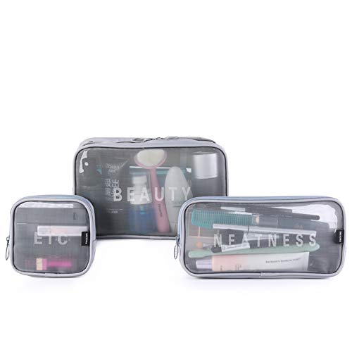 Hienjoy Mesh Cosmetic Bags Set 3 Pieces See Through Make Up Pouch Bag Clear Toiletries Organizer (Grey)